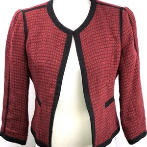 Forever 21 Red Black Strip Tweed OPEN Blazer M